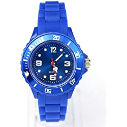 AccessoriesBySej 24 Colours - SMALL DARK BLUE 33mm CHILDREN'S KIDS GIRLS BOYS LADIES WOMENS SMALL 33mm QUARTZ SILICON /RUBBER STYLE JELLY SPORT WRIST WATCHES UNISEX DATE