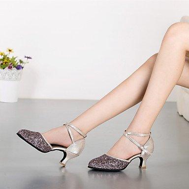 XIAMUO Anpassbare Damen Tanz Schuhe Moderne synthetische Angepasste Ferse Outdoor Schwarz/Blau/Silber Blau