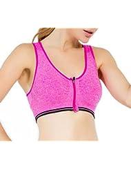 SODACODA Damen Hohe Auswirkung Vorderer Reißverschluss Sport Yoga-BH – Fitness Übung – Abnehmbare weiche Polster (S, M, L)