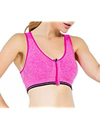 SODACODA Women's High Impact Zip-Front Sports Padded Comfort Seamless Yoga Bra - Running Fitness Exercise - removable soft pads (S, M, L)