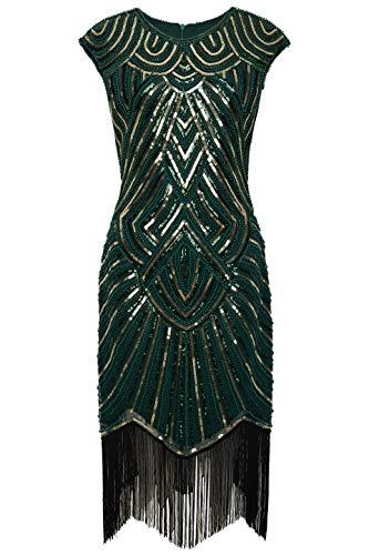 BABEYOND Damen Kleid voller Pailletten 20er Stil Runder Ausschnitt Inspiriert von Great Gatsby Kostüm Kleid (Dunkelgrün Gold, XS (Fits 70-74 cm Waist))