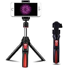 Seedoo Plegable Extensible Selfie Stick, Mini Portátil Trípode Palo Para Autofoto, Adaptador de Teléfono Móvil, Disparador Remoto Bluetooth Para la Cámara, Gopro, iPone 7,Huawei p9,Samsung y otros Teléfonos Inteligentes-Rojo