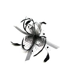 Black stiffened net & feather bow fascinator set on a clear hair comb. Ideal for weddings.