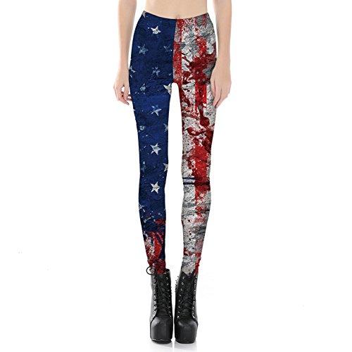 Teen Mädchen Kontrast Farbe Leggins Slim Fit US Flagge Yoga Hosen Für (Kleid Flagge Us)