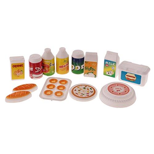 MagiDeal 12 Pcs Puppenhaus Miniatur Möbel Küchen Essen Set Obst Saft Milch Getränke Modell - Puppenhaus Möbel Miniaturen