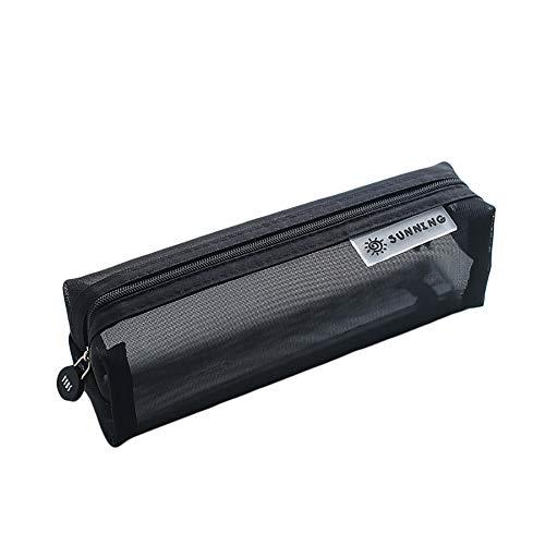 Cosanter Bolso del Lápiz con Rejilla Transparente de Escolar Bolso Organizador de Monedas Cosméticos para escuelas y oficinas (Negro) 20,5 x 6 x 6,5 cm
