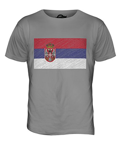 CandyMix Serbien Kritzelte Flagge Herren T Shirt Hellgrau