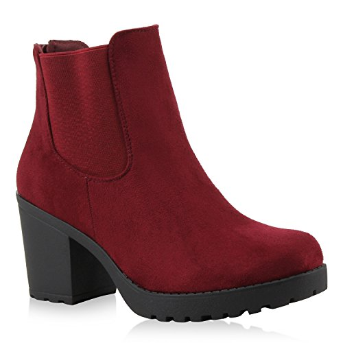 Damen Stiefeletten Chelsea Boots Profilsohle Blockabsatz Burgund Velours