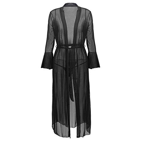 iBaste Damen Lang Negligee Kimono Schwarz Morgenmantel Bademantel Babydoll Dessous mit G-string (Spitze Lange Robe)