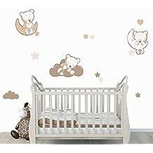 stickers teddy moon beige trio teddy lourson sur la lune stickers enfant - Chambre Bebe Ourson
