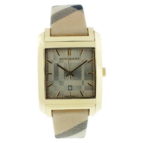 Burberry Watch - Reloj Suizo de Mujer Haymarket con Correa de Piel de 20 mm BU1579