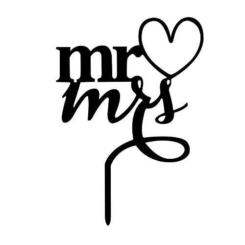 Scegliere di Acrilico Mr e Mrs Pattern Silhouette Matrimonio Fidanzamento Cake Topper Torta Decorazione Accessori Nero - Amore Del Cuore Torta Nuziale