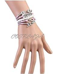 Cosplaza BQ0620 - Pulsera multipulsera de piel sintética con diseño de búhos, best friend y love, color rosa y blanco