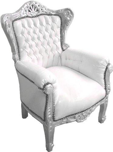 Casa Padrino Barock Kinder Sessel Weiß/Silber - Thron