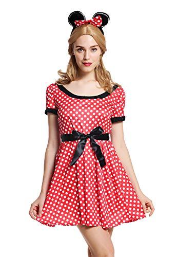 dressmeup W-0136-S/M Kostüm Damen Frauen Maus süßes Mäuschen Kleid rot weiß gepunktet S/M