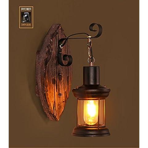 ZQ@QX Parete decorativa tradizionale semplice hotel café ristorante lampada da parete Lampada da parete retrò ferro legno (330 * 190mm)