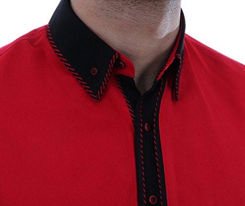 Designerhemd in Rot, für Herren BESTE QUALITÄT, HK Mandel Freizeithemd Kurzarm Normal Nicht Tailliert, 3052 Rot