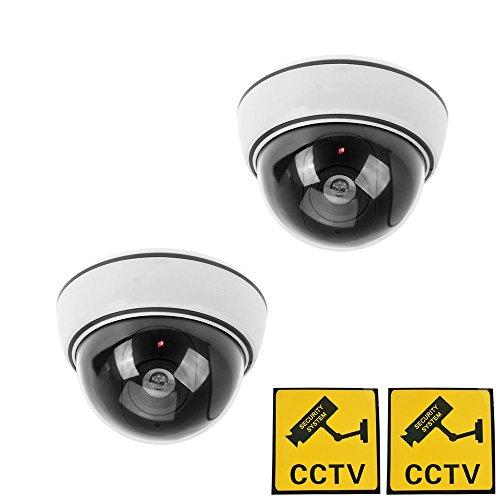Phot-R 2x Outdoor Indoor-Faelschungs-Imitation IR-Haube CCTV-blinkende rote LED Blinklicht die ueberwachung der Sicherheit Kamera-Attrappe mit Warnaufkleber - Weiss - Professionelle Wand-haube