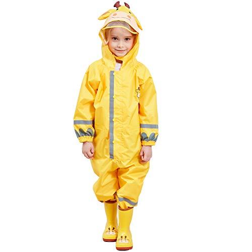 Bwiv Regenmantel Kinder Wasserdicht Atmungsaktiv Regenanzug Einteilig Jungen Mädchen Regenjacke mit Reflektor Leicht Overall ohne Geruch 3-10 Jahre Gelb S