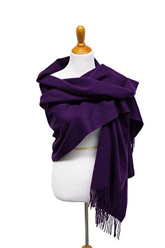 XXL Damen Schal Tuch Halstuch Poncho Wolle Kaschmir-Imitat Pashmina super weich in verschiedenen Farben Größe 180cm x 72cm von DesiDo® (Lila)