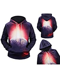 BUSIM Men's Long Sleeve Sweater Autumn Winter Star Print Hooded Sweatshirt Hooded Turtleneck Dark Jacket Shirt...