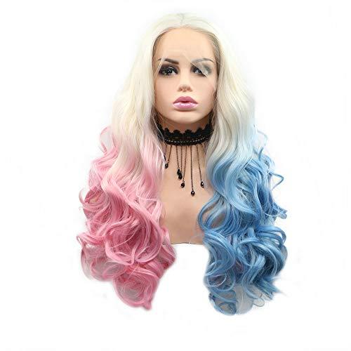 Peluca de pelo largo ondulado blanco rubio Ombre mitad rosa mitad azul encaje frontal pelucas para mujeres...