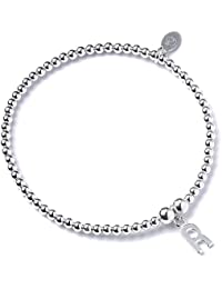 Sterling Silver Ball Bead Bracelet with Initial / Letter Charm