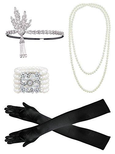 r Set Flapper Kostüm, Frauen Feder Stirnband, Satin Handschuhe, Perlenkette, schwarze Zigarettenspitze ()