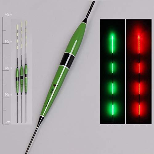 strety Angelpose Fisch-Bissköder Auslöser LED Licht Nachtlicht Blinken Schwimmer automatisch Erinnerung Angeln Schwimmer Angeln Glimmsticks mit Knopfbatterie, grün, 3pcs