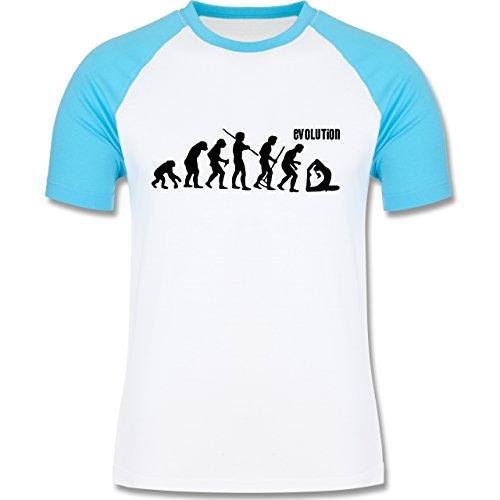 Shirtracer Evolution - Yoga Evolution - Herren Baseball Shirt Weiß/Türkis
