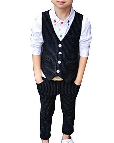 Jungs Pagenanzüge Jungen Anzugweste Kinder Anzug Weste + Anzug-Hosen Schwarz