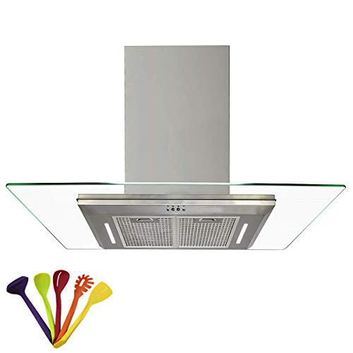 B-ZWEB 730 m³/h Extractor Hood • Cooking Hood with Kitchen Tools Set • 90cm Range Hood • Flat Glass • Stainless Steel • 2 Work Lights • Front made of Special Hardened Glass (90cm(2x600mm))