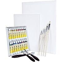 Artina Set di pittura con colori acrilici Malta: 2 tele 18 colori 5 pennelli 3 spatole - per artisti ed e principianti