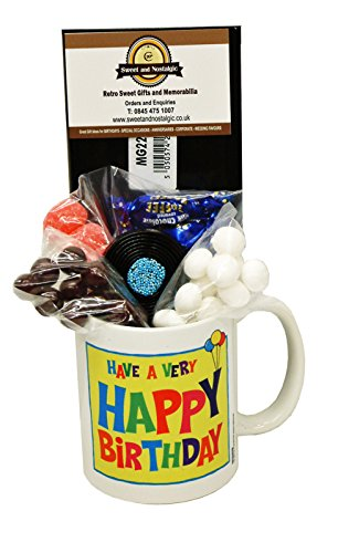 Happy Birthday Mug with a Selection of 1940's Old Fashioned Sweets