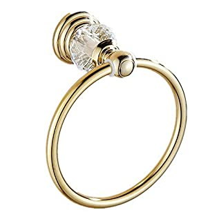 AUSWIND Gold Polished Stainless Steel Crystal Towel Ring Wall Mounted Bathroom Accessory Set LK28