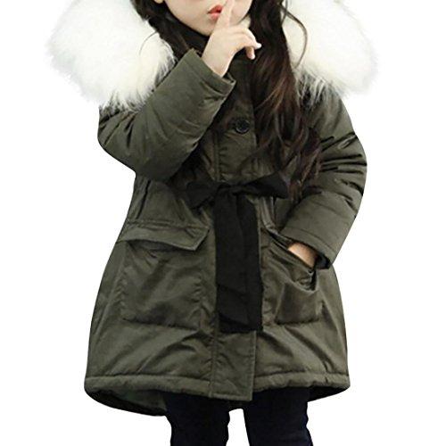 LuckyGirls Baby Mädchen lange Mantel Groß Pelzkragen Parka mit Kapuze Tasche Taille Riemen Jacke Oberbekleidung (110)