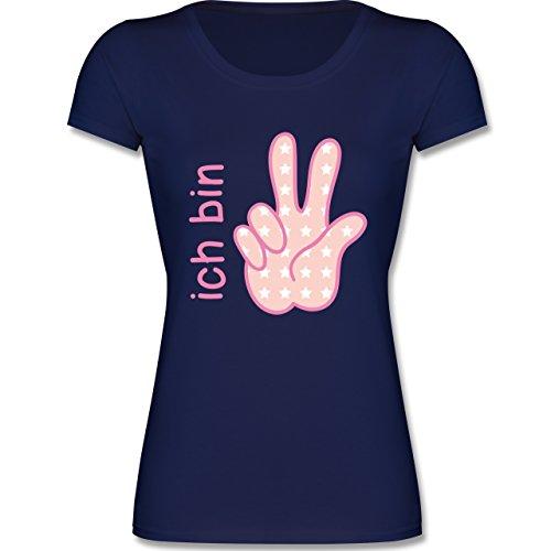 Geburtstag Kind - Ich Bin 3 Mädchen Zeichensprache - 104 (3-4 Jahre) - Dunkelblau - F288K - Mädchen T-Shirt