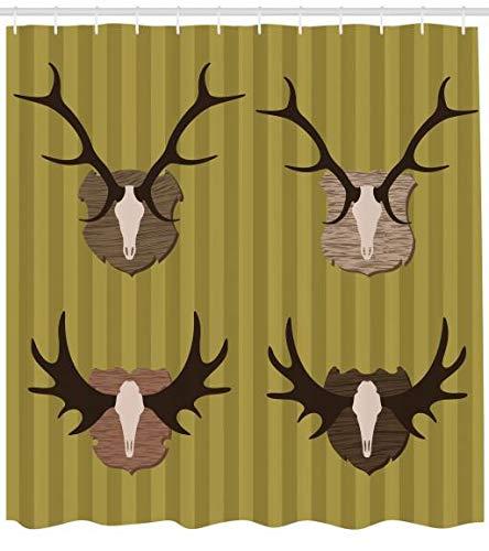 ABAKUHAUS Jagd Duschvorhang, Deer Mous Horns Trophy, Waserdichter Stoff mit 12 Haken Set Dekorativer Farbfest Bakterie Resistet, 175 x 180 cm, Khaki Multicolor (Wc-trophy)