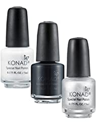 KONAD Kit de 3 Vernis Stamping 5 ml - Noir, Blanc et Argent
