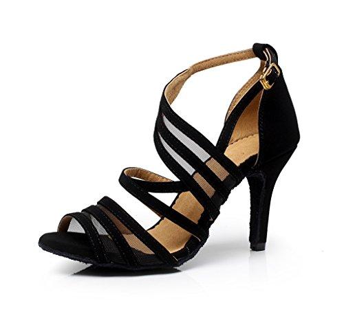 Minitoo, eleganti scarpe da ballo da donna, con cinturini in pelle scamosciata, adatte per tango e balli latino-americani, QJ7036, Nero (Black), 38 EU