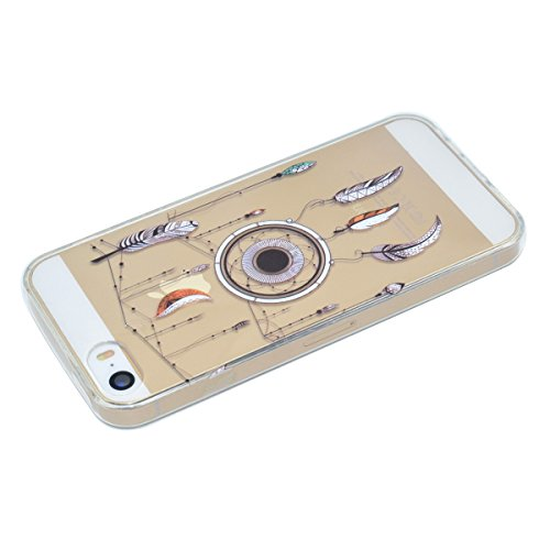 Custodia iPhone 5S, iPhone SE Cover Silicone, SainCat Custodia in Morbida TPU Protettiva Cover per iPhone 5S/SE,Creative Design Transparent Silicone Case Ultra Slim Sottile Morbida Transparent TPU Gel piume pendente