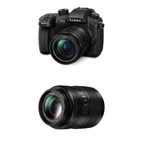 Best Panasonic DC-GH5MEB-K Lumix G Compact System Camera with H-FSA45200E 45 – 200 mm LUMIX G VARIO Lens Bundle on Line