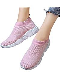 Mujer Zapatos Deportivos Planas Ligero Sneakers de Punto Cómodo Slip-on  Zapatos Running Trail Gimnasia 527ad53a65b