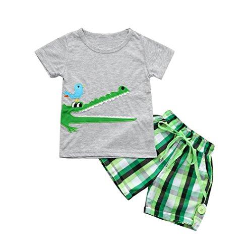 Jungekleidung Set, Sonnena Baby Kleikind Junge Kurzarm Karikatur Krokodil Drucken T-Shirt Hemd Tops + Plaid Shorts Kurz Hosen Outfit Set Sommer Tägliche Strandkleidung Babyanzug (2 Jahre, Grau) (Plaid Shirt Wolle)