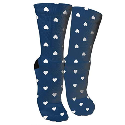 White Hearts On Navy Blue Fashion Stylish Knee High Socks for Women and Men-Fitness Novelty Crew Athletic Socks Comfortable Knee High Sock (Navy Socks Knee White)