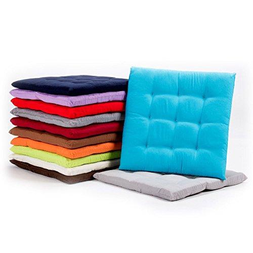 diMio Stuhlkissen 40×40 x 3,3cm – Schicke Landhaus Sitzkissen in 12 trendigen Farben, weich gepolstert