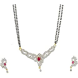 Ashvi American Diamond Gold Plated Mangalsutra Pendant with Chain and Earrings for Women ...