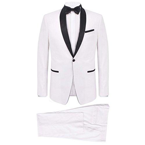 Festnight smoking a 2 pz/vestito/abiti da cerimonia/matrimonio per uomo in tessuto taglia 46/48/50/52/54/56 blu marino/rosso borgogna/bianco