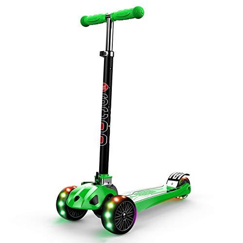 Unbekannt Scooter Freestyle Pro Scooter mit Flash Wheels, Faltendes Trike für 2-12 Jahre alte Jungen und Mädchen, Höhenverstellbar (Farbe : Green)