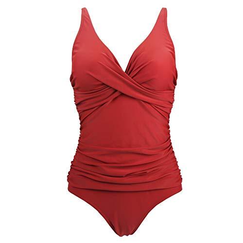Viloree Damen Monokini Bauchweg Schlankheits Badeanzug Plus Size Badebekleidung Bauchweg für Mollige Rot L